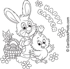 Easter Bunny and Chick - Little rabbit and chicken saying...