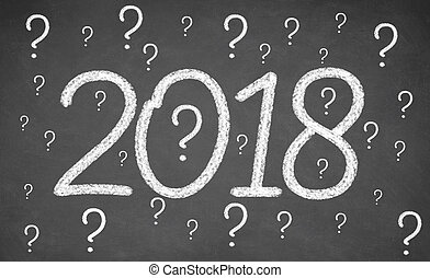 Image of numbers 2018 and question mark symbol on the...