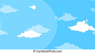 Cartoon white clouds moving side over blue sky background...