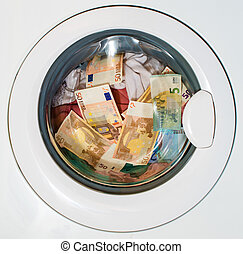 Lots of euros in washing machine Dirty money concept