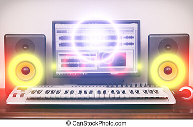 Home recording studio with professional monitors and midi keyboard.