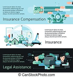 Insurance And Risk Banners Set - Insurance and risk...