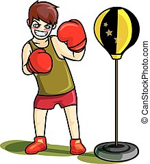 Young boy practice to boxing