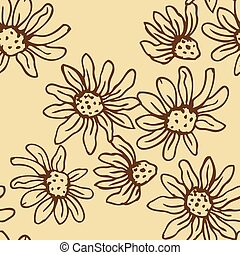 Flowers of camomile seamless - Vintage seamless background...