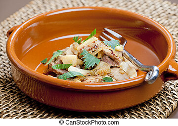 pork meat with celery noodles