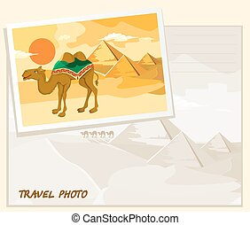 travel photo template - Pyramids and camel going through the...