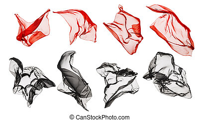 Fabric Cloth Flying, Flowing Waving Silk, Red Black on White...