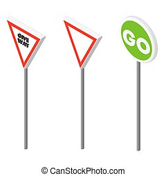 Isometric icons various road sign European and american...