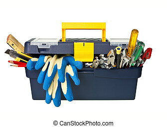 Toolbox - Plastic workbox with assorted tools on white...