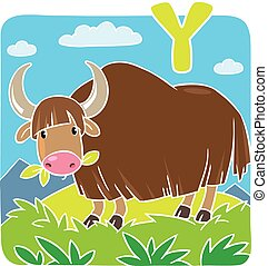 Funny wild yak Alphabeth Y - Children vector illustration of...