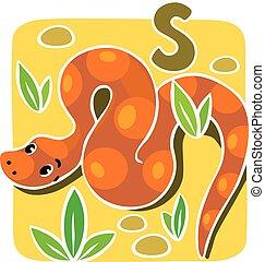 Children vector illustration of snake. Alphabet S - Children...