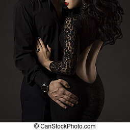 Couple in Black, Woman and Man no Faces, Sexy Lady Lace...