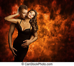 Sexual Couple, Passion Man Kiss Sensual Woman Neck, Love...