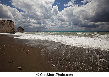 The coast of Cyprus in the area of rock Aphrodite seascape