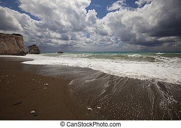 el, Costa, de, Chipre, en, el, área, de, roca,...