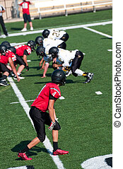 Youth American football receiver in position on the field -...
