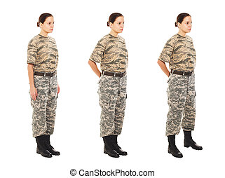 Girl in the military uniform - Soldier: girl in the...