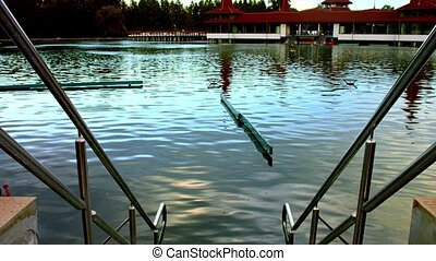 Thermal lagoon in Hungary - Blue thermal lagoon outdoors in...