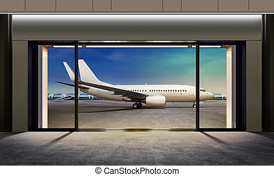 gate in airport - passenger plane expects tourists at...