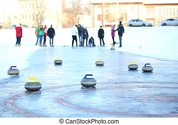 People playing in curling
