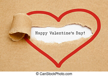 Happy Valentines Day Torn Paper Concept - The text Happy...