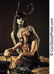 seduzido, por, Demônio,