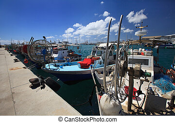 Fishing boats moored in the port of Cyprus - Fishing boats...