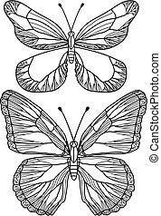 beautiful butterflies, vector - delicate hand drawn...