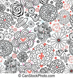 Graphic floral pattern with birds in love