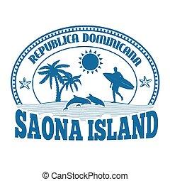tłoczyć, wyspa, Albo,  saona, etykieta
