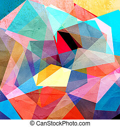 Abstract geometric background - Bright colorful watercolor...