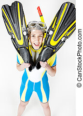 portrait of woman wearing neoprene with flippers and diving...