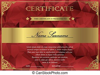 Certificate and diploma template - Horizontal red and gold...