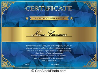 Certificate and diploma template - Horizontal blue and gold...