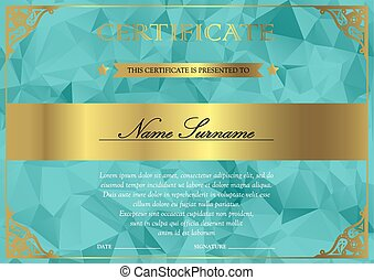 Certificate and diploma template - Horizontal turquoise and...