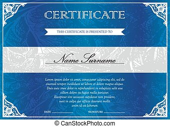 Certificate and diploma template - Horizontal blue...