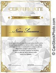 Certificate and diploma template - Vertical silver and gold...