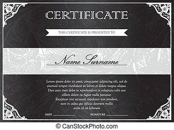 Certificate and diploma template - Horizontal black dark...