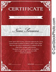Certificate and diploma template - Vertical red certificate...