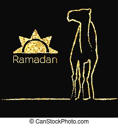 Ramadan gold greeting with camel - Ramadan greeting with...