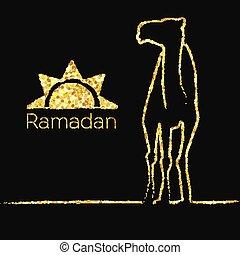 Ramadan gold greeting with camel - Ramadan greeting with...