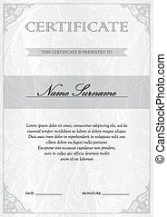 Certificate and diploma template - Vertical white silver...