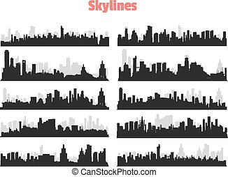 Big City Skylines - Set of generic black and gray big city...