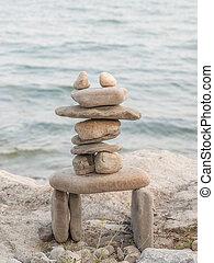 Rock Piles - Inukshuk rock piles by Lake Ontario in...