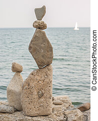 Rock Piles - Inukshuk rock piles by Lake Ontario in...