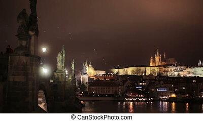 Night panoramic view of Prague city - Night panoramic scenic...