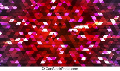 Broadcast Twinkling Squared Hi-Tech Triangles, Red, Abstract, Loopable, HD
