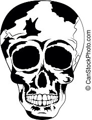 Black and white human skull. Tattoo Skull Day of The Dead