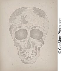 Vintage human skull. Tattoo Poster Day of The Dead