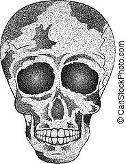 Vintage human skull. Tattoo. Day of The Dead